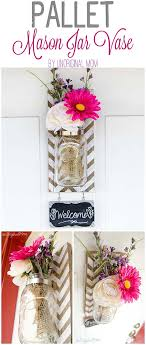 Chevron Pallet Mounted Hanging Mason Jar Vase Diy Crafts