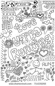 I Love Ultra Running Hand Drawn Doodle Coloring Page For Adults And Children Sport
