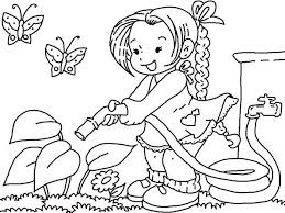 Gardening Watering Flower With Hose Coloring Pages