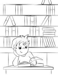 Click To See Printable Version Of Cute Little Boy Reading A Book At The Library Coloring