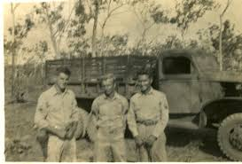 100 Two Ton Truck Three US Soldiers Pose In Front Of Two And Half Ton Truck