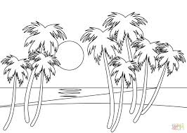 Village Scenery Coloring Pages Click Tropical Beach Printable Jungle Scene