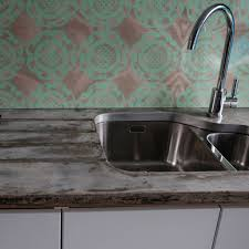 Mint Geo In Maple Patterned Glass Splashback