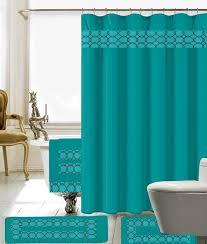 Small Bathroom Window Curtains Amazon by Amazon Com 18 Piece Embroidery Banded Shower Curtain Bath Set 1