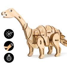 ROBOTIME Wooden Craft Kits 3D Dinosaur Puzzle Toys LaserCut Robot