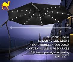 Tilt Patio Umbrella With Lights by Amazon Com Strong Camel 9 U0027 Cantilever Solar 40 Led Light Patio