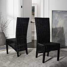 Safavieh Dining Rural Woven St. Croix Wicker Black High Back Dining Chairs  (Set Of 2) Lotta Ding Chair Black Set Of 2 Source Contract Chloe Alinum Wicker Lilo Chairblack Rattan Chairs Uk Design Ideas Nairobi Woven Side Or Natural Flight Stream Pe Outdoor Modern Hampton Bay Mix And Match Brown Stackable