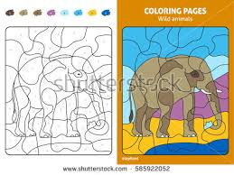 Wild Animals Coloring Page For Kids Elephant Printable Design Book Puzzle