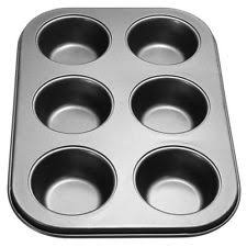 6 X Cup Muffin Cake Mould Baking Tray Sponge Tin Non Stick