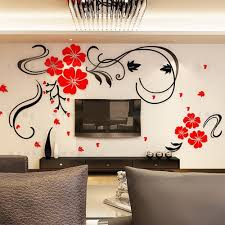 Wall Mural Decals Flowers by Amazon Com Alicemall Red Flower Tv Wall Sticker Acrylic Red