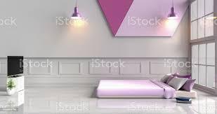 weißlila schlafzimmer dekoriert mit lila bett baum in glasvase violette kissen holz nachttisch fenster lila le tv buch weißzement wand muster