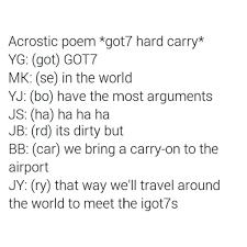 Halloween Acrostic Poem Words by Got7 Inside Jokes U0026 Habits Part 1 K Pop Amino