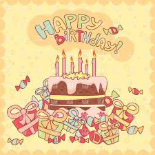 Happy birthday card with cake candles and ts Royalty Free Vector Clip Art
