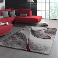 teppich dariana in grau schwarz rot schwarze wohnzimmer