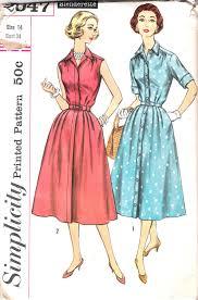 Vintage 50s Shirtwaist Dress Pattern Full Skirt Shirt Waist Simplicity 2047 Size 14 34 Bust