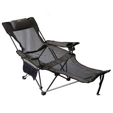 Camp Chair With Footrest by Lounge Camping Chair Grey Reclining Seat Beach Folding Recliner