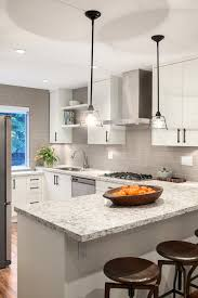 grey subway tile kitchen transitional with 3纓6 subway tile bar