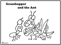 Skip The Dog Click To Download Grasshopper And Ant Coloring Page