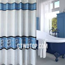 White and Blue Pirate Style Anchor Shower Curtain