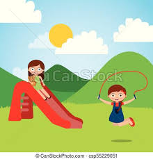Cute Happy Little Kids Playing Slide Jump Rope Playground