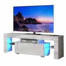 yoleo tv lowboard fernsehschrank fernsehtisch tv schrank mit led beleuchting stehend tv regal 130x35x45 cm weiß