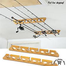 ceiling mount pole reel holder wood fishing rod rack wall storage