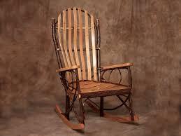 Rustic Rocker Amish Wide Back Bent Wood Oak Hickory Rocking Chair