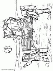 Printable Space Rocket USA Astronauts Near Spaceship Coloring Page For Free