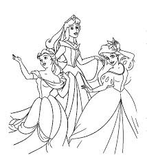 Disney Princesses Belle Ariel And Princess Aurora On Colouring Page