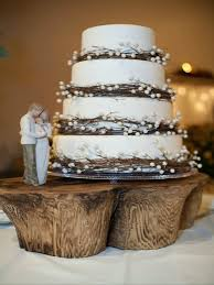 Four Tier Twig And Pearl Wedding Cake