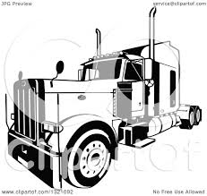 100 Rig Truck Clipart Of A Black And White Lorry Big 3 Royalty Free