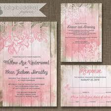 Blush Pink Ombre Wood Wedding Invitation 3 Piece Suite Reception Response RSVP Shabby
