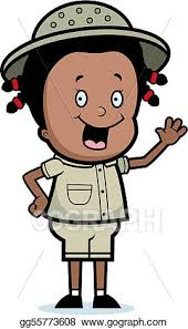 Vector Art A happy cartoon girl explorer waving and smiling Clipart Drawing gg