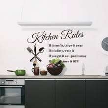 Wall Sticker Words Kitchen Rules 57 33cm DIY Removable Waterproof Home Decor Decoration Hot