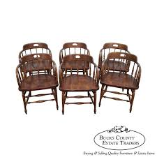ethan allen set of 6 barrel back pub style dining chairs