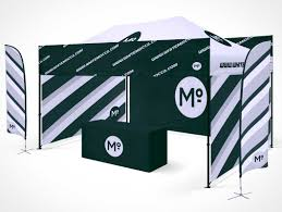 100 Studio Tent Folding Trade Show Booth Table PSD Mockup