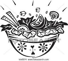 Drawings of A bowl of salad kle0074 Search Clip Art