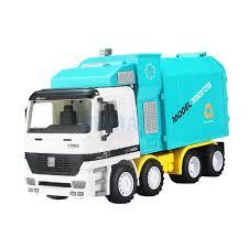 100 Sanitation Truck Inertial With Trash Bin Engineering Diecast Vehicle
