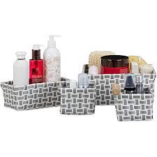 relaxdays aufbewahrungskorb 4er set körbchen in 3 größen geflochten korb badezimmer dekokorb kunststoff weiß grau