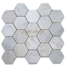 carrara white 3 inch hexagon mosaic tile tumbled marble from