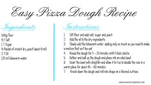 Easy Pizza Dough Recipe Card