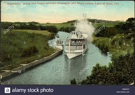 100 Mary Lake Ontario 1221 Postcard Of Steamship Algonquin Going Into Canal Between