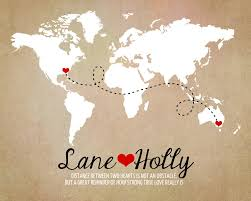 Long Distance World Map Rustic Wedding Gift Art Print