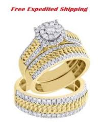 925 Silver Princess Diamond 14K Yellow Gold Plated Trio Matching