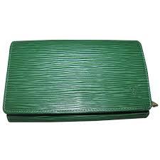 maroquinerie louis vuitton porte monnaie cuir vert ref