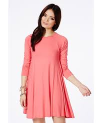 missguided mikita long sleeve swing dress in coral in pink lyst