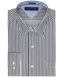 tommy hilfiger slim fit bold stripe dress shirt in black for men