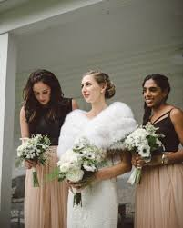 Rustic Glam Bridal And Bridesmaid Style With White Fur Stole Blush Skirts