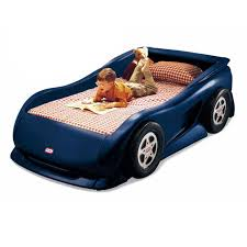 twin sports car bed for kids little tikes
