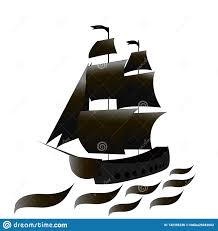 100 Design A Pirate Ship With Black Sails T Sea Vector Illustration Stock